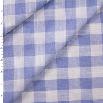 Light Blue and White Gingham Polyester Linen Look Fabric By The Yard