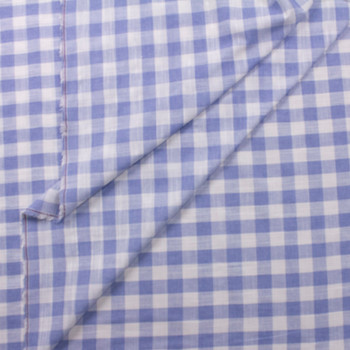 Light Blue and White Gingham Polyester Linen Look Fabric By The Yard - Wide shot