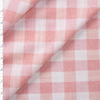 Dusty Pink and White Gingham Polyester Linen Look Fabric By The Yard