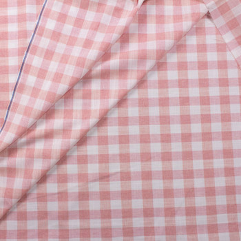 Dusty Pink and White Gingham Polyester Linen Look Fabric By The Yard - Wide shot