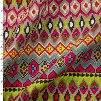 Neon Green, Aqua, Hot Pink, and Tan Tribal Pattern Midweight Cotton/Linen Blend Fabric By The Yard