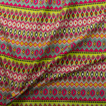Neon Green, Aqua, Hot Pink, and Tan Tribal Pattern Midweight Cotton/Linen Blend Fabric By The Yard - Wide shot