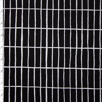 White Rectangular Grid on Black Midweight Cotton/Linen Blend Fabric By The Yard