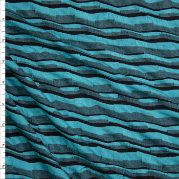Teal, Black, and Grey Crooked Stripe Textured Stretch Jersey Fabric By The Yard