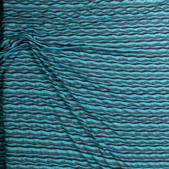 Teal, Black, and Grey Crooked Stripe Textured Stretch Jersey Fabric By The Yard - Wide shot