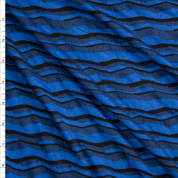 Bright Blue, Black, and Grey Crooked Stripe Textured Stretch Jersey Fabric By The Yard