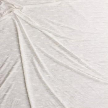 Warm White on Warm White Scalloped Mini Ruffle Jersey Knit Fabric By The Yard - Wide shot