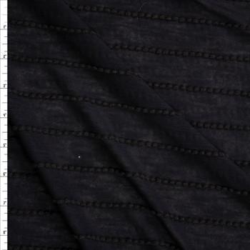 Black on Black Scalloped Mini Ruffle Jersey Knit Fabric By The Yard
