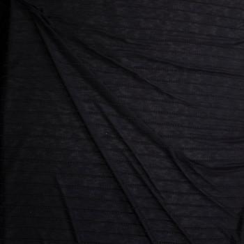 Black on Black Scalloped Mini Ruffle Jersey Knit Fabric By The Yard - Wide shot