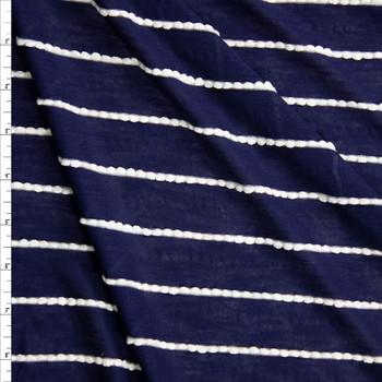 White On Navy Blue Scalloped Mini Ruffle Jersey Knit Fabric By The Yard