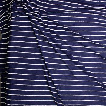 White On Navy Blue Scalloped Mini Ruffle Jersey Knit Fabric By The Yard - Wide shot