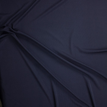 Navy Polyester Rib Knit Fabric By The Yard - Wide shot