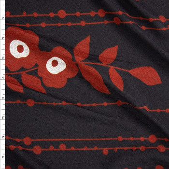 Rust and Grey Double Border Floral on Black Hacci Sweater Knit Fabric By The Yard