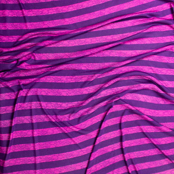 Purple and Hot Pink Horizontal Lace Stripe Lightweight Hacci Sweater Knit Fabric By The Yard - Wide shot