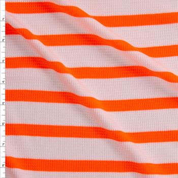 Neon Orange on Warm White Horizontal Stripe Rayon Waffle Knit Fabric By The Yard