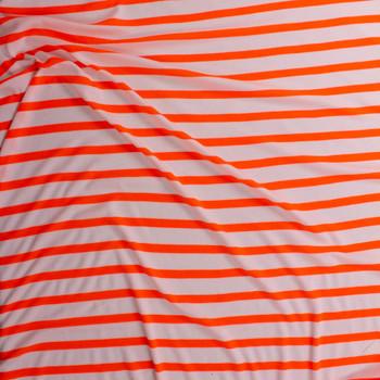 Neon Orange on Warm White Horizontal Stripe Rayon Waffle Knit Fabric By The Yard - Wide shot