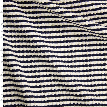 Navy and Ivory Textured Grid Double Knit Fabric By The Yard