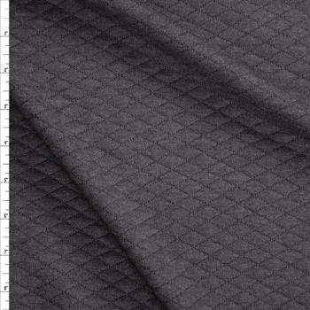 Charcoal Grey Diamond Quilted Texture Double Knit Fabric By The Yard