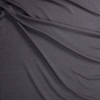 Charcoal Grey Diamond Quilted Texture Double Knit Fabric By The Yard - Wide shot