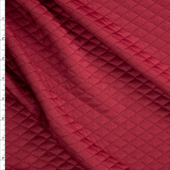 Burgundy Diamond Quilted Texture Double Knit Fabric By The Yard