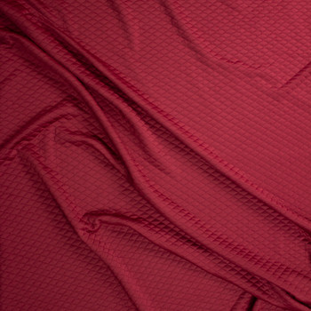 Burgundy Diamond Quilted Texture Double Knit Fabric By The Yard - Wide shot