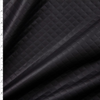 Matte Black Quilted Texture Leather Look Knit Fabric By The Yard
