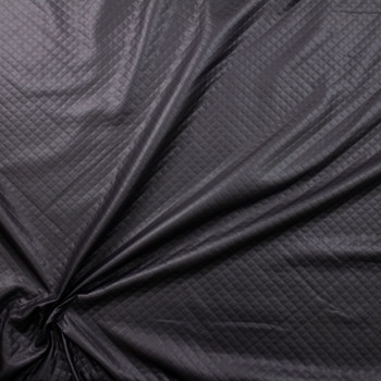 Matte Black Quilted Texture Leather Look Knit Fabric By The Yard - Wide shot