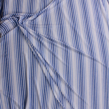 Sparkling Silver, Blue, and White Vertical Stripe Poly Rib Knit Fabric By The Yard - Wide shot