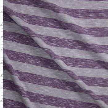 Purple and Heather Grey Horizontal Stripe Lightweight Sweater Knit Fabric By The Yard