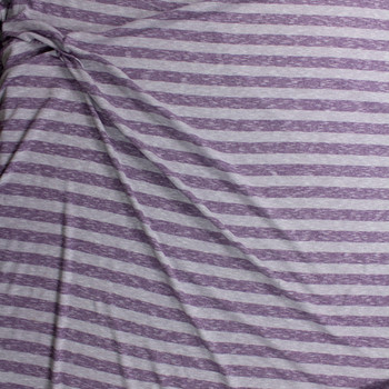 Purple and Heather Grey Horizontal Stripe Lightweight Sweater Knit Fabric By The Yard - Wide shot