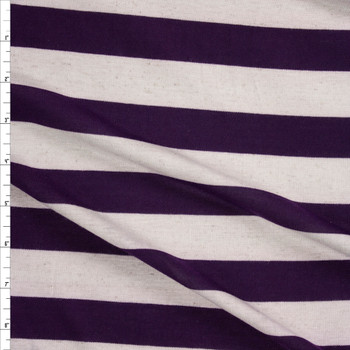 Plum and Natural Horizontal Stripe Rayon Jersey Fabric By The Yard
