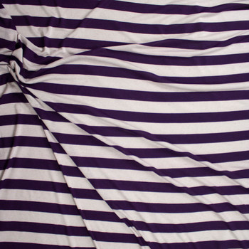 Plum and Natural Horizontal Stripe Rayon Jersey Fabric By The Yard - Wide shot