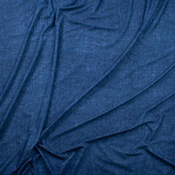 Dark Blue Denim Look Cotton Jersey Knit Fabric By The Yard - Wide shot