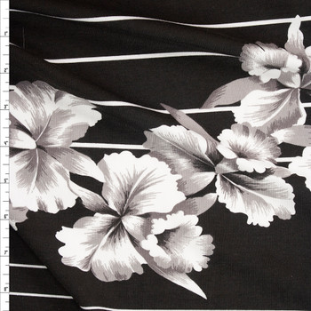 Hawaiian Floral on Black and White Stripe Stretch Cotton Jersey Fabric By The Yard
