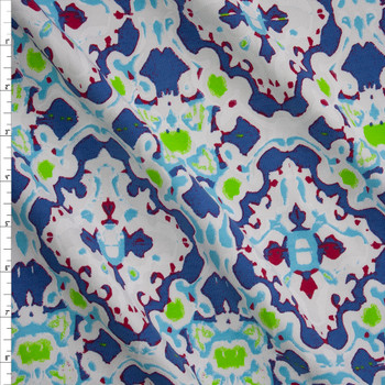 Violet, Lime, Red, and Aqua on White Kaleidoscope Stretch Cotton Jersey Fabric By The Yard