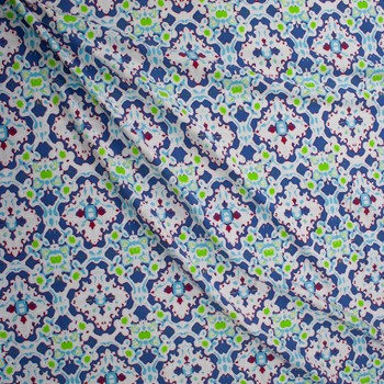 Violet, Lime, Red, and Aqua on White Kaleidoscope Stretch Cotton Jersey Fabric By The Yard - Wide shot