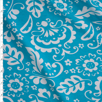 White Whimsy Floral on Turquoise Stretch Cotton Jersey Fabric By The Yard