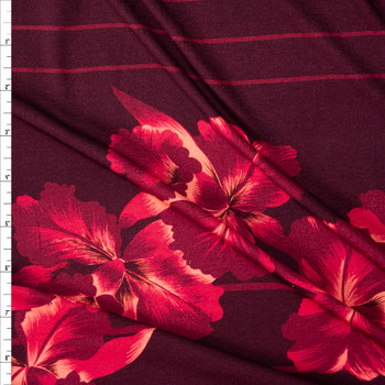 Hawaiian Floral on Burgundy and Red Horizontal Stripe Stretch Cotton Jersey Fabric By The Yard