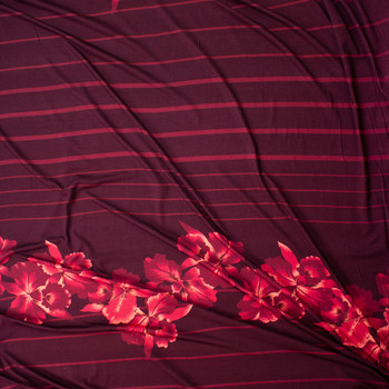 Hawaiian Floral on Burgundy and Red Horizontal Stripe Stretch Cotton Jersey Fabric By The Yard - Wide shot