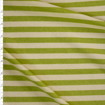 Lime and Ivory Horizontal Stripe Stretch Cotton Micro Rib Fabric By The Yard