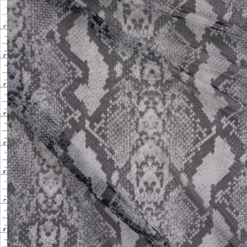 Grey and Black Snakeskin Power Mesh Fabric By The Yard