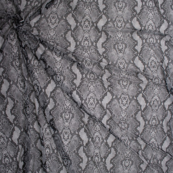 Grey and Black Snakeskin Power Mesh Fabric By The Yard - Wide shot