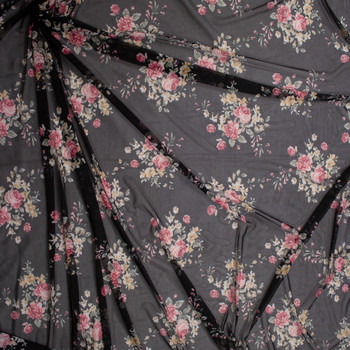 Pink, Sage, and Yellow Rose Floral on Black Power Mesh Fabric By The Yard - Wide shot