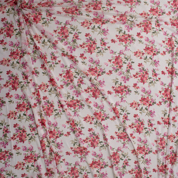 Red and Pink Paintbrush Floral on Offwhite Power Mesh Fabric By The Yard - Wide shot