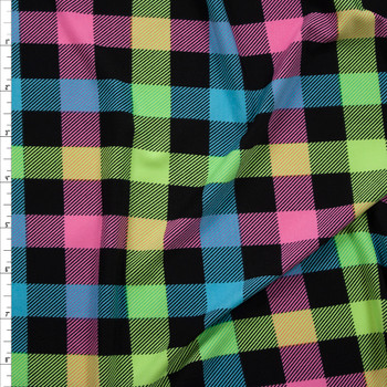 Mint, Pink, Yellow, Aqua, and Black Plaid Stretch Poly Knit Fabric By The Yard