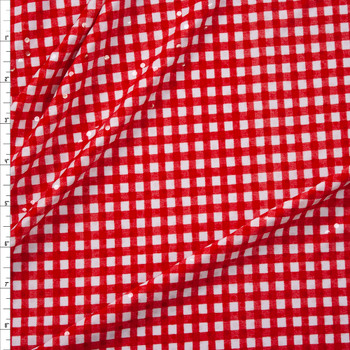 Red and White Gingham with Clear Sequins Midweight Poly Knit Fabric By The Yard