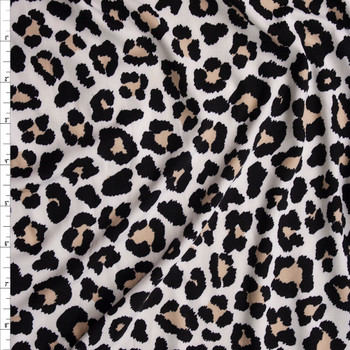 Light Leopard Print Double Brushed Poly/Spandex Knit Fabric By The Yard