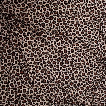 Classic Leopard Print Double Brushed Poly/Spandex Knit Fabric By The Yard - Wide shot
