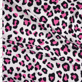 Neon Pink and White Leopard Print Double Brushed Poly/Spandex Knit Fabric By The Yard
