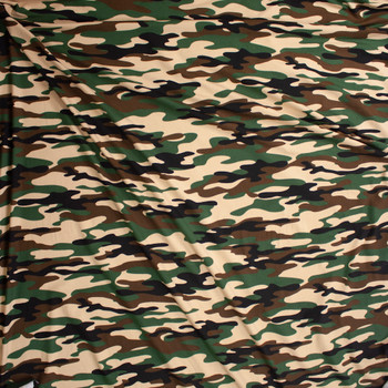 Classic Camo Double Brushed Poly/Spandex Knit Fabric By The Yard - Wide shot